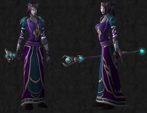 wowfashionpolice:  Transmog Challenge 12: Entry 2  For the Race themed challenge. Have an Aldori priestess as an entry for the Draenei. Chest: Anchorite's Robe Tabard: Aldor Tabard Shoulders: Karna's Poncho Hands: Ebonweave Gloves Waist: High Councillor's Sash Weapon: Grand Magister's Staff of the Torrents