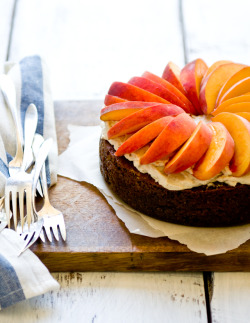 "screw-it-and-eat-everything:  Peach and Ginger-Pecan Cakemakes one 8"" round cake for ginger-pecan cake: 1 cup (140 gr) AP flour 1/2 cup (60 gr) toasted pecans, finely ground 1/2 tspn salt 1 1/2 tspn baking soda 30 gr (1 oz) fresh ginger, peeled and finely grated 1 cup (200 gr) lightly packed dark brown sugar 1 stick (1/2 cup) butter, at room temperature 2 eggs 1/2 tspn vanilla extract 1/2 cup whole milk 1. Preheat oven to 350 degrees F. Grease and flour the bottom and sides of the cake pan, and line the bottom with parchment paper. If desired, use bake-even strips. 2. Whisk together the flour, toasted and ground pecans, salt, and baking soda. Set aside. 3. In a mixer bowl, combine the grated ginger, brown sugar, and butter. Cream on medium until light and fluffy, about 2-3 minutes. 4. Add the eggs one at a time to the butter mixture, beating well after each addition. Beat in the vanilla extract. 5. Add the flour mixture in two batches, alternating with the whole milk. Beat well after each addition, but do not overmix. 6. Pour the batter into the prepared cake pan. Smooth the top with the back of a spatula if necessary. Bake for ~60 minutes until a toothpick inserted into the center of the cake comes out cleanly. Remove from oven and let cool on a wire rack for 15 minutes before removing from the pan and cooling completely. for brown sugar frosting: 2 1/2 Tbspn AP flour 1/2 cup whole milk 1/2 tspn vanilla extract 1 stick (1/2 cup) butter 1/2 cup (50 gr) dark brown sugar 1. Combine the flour and milk in a small saucepan and cook, whisking constantly, over medium heat until the mixture thickens considerably. Remove from heat and let cool completely. Stir in the vanilla. 2. In a mixer bowl, cream the butter and brown sugar together until light and fluffy and the sugar is no longer grainy. Beat in the flour and milk mixture. 3. Spread over cake. for topping: ~2 large peaches, sliced 1. Arrange the peach slices atop cake."