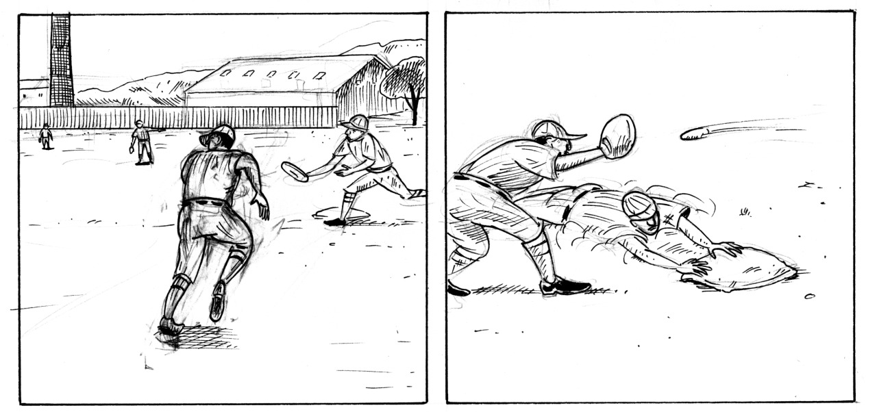 Page in progress: Abuelo steals second.