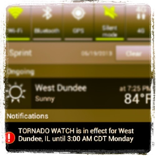 Oh, a tornado watch? What a wonderful leaving gift. Thanks, Chicago.