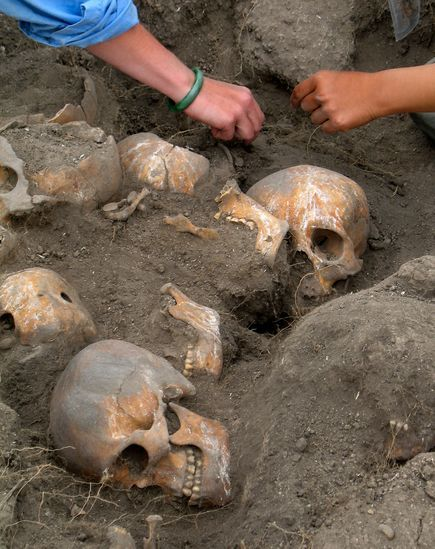 Severed Heads Discovered in Ancient Mexican ShrineArchaeologists have uncovered the remains of more than 150 skulls from an ancient shrine near Mexico City this month—evidence of one of the largest mass sacrifices of humans. The rituals included sacrifices to the rain gods as power struggles gripped the parched region suffering from a severe drought. The victims were first killed and dismembered. The body parts may then have been thrown into the lake, while the heads were carefully arranged and buried. Incense was burned during this ceremony and foods such as ritually burned maize were presented as additional offerings.