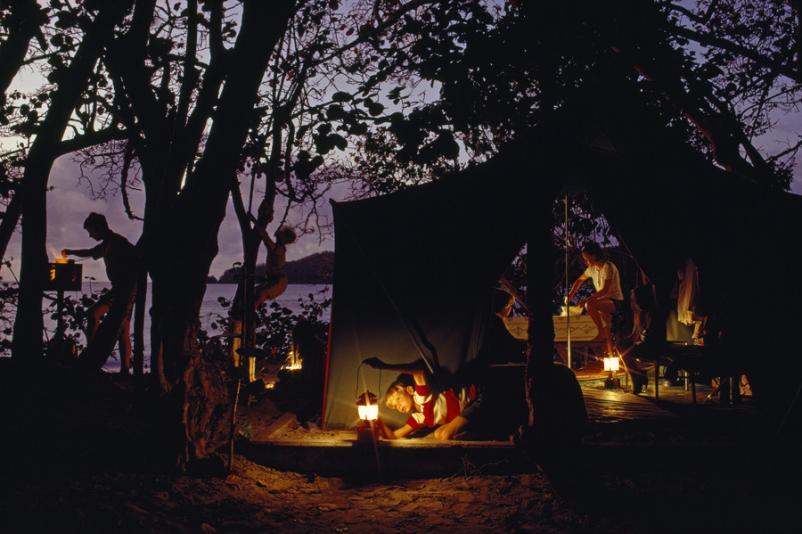 natgeofound:  Campers prepare a meal beneath sea grape trees. Cinnamon Bay, Virgin Islands, 1968.Photograph by James L. Stanfield, National Geographic