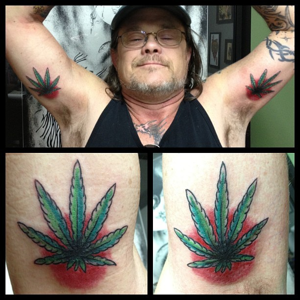 Awesome walk in today. #tattoo #weed #potleaf #traditionaltattoo #awesomethursday #toughasshit