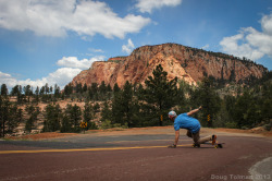skatistan:  Another shot of Sam ripping down a beautiful road in Zion
