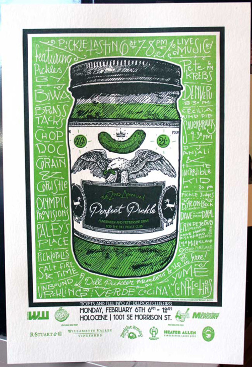 lovedesignlife:  Dill Pickle Club Fundraising Poster by Keegan Wenkman. (via FPO)  Love the lettering…