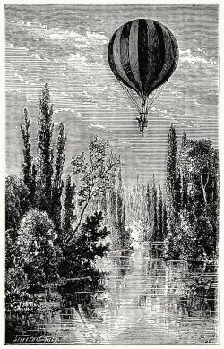 oldbookillustrations:  Eighth journey. The balloon La ville de Florence crossing the Ouche (Côte-d'Or). From Histoire de mes ascensions (Story of my balloon ascents), by Gaston Tissandier, Paris, 1880. (Source: archive.org)
