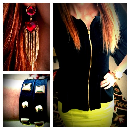 Hardware and Neon The Daily Look Outfit Breakdown:  Jacket: Forever21.com; Skirt: Target; Watch: Michael Kors; Bracelet(s): Forever21.com; Ring(s): Forever21.com; Earrings: H&M
