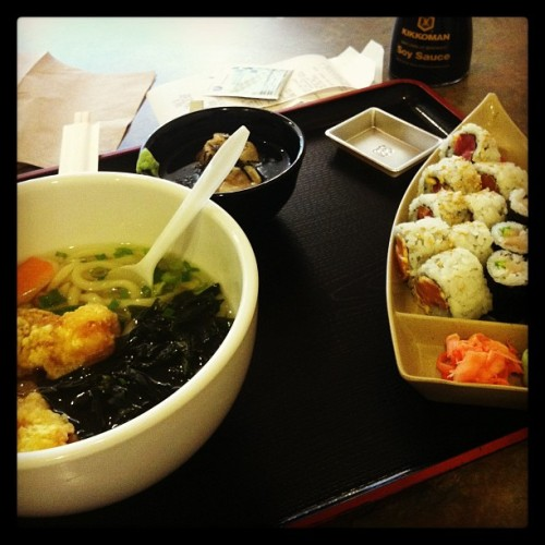 Today's lunch is #epic. #sushi #udon #dumplings  (at Sushi Do)