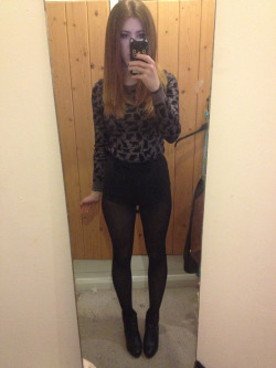 What I wore today Black hotpants, metallic and cat print jumper, chelsea style boots