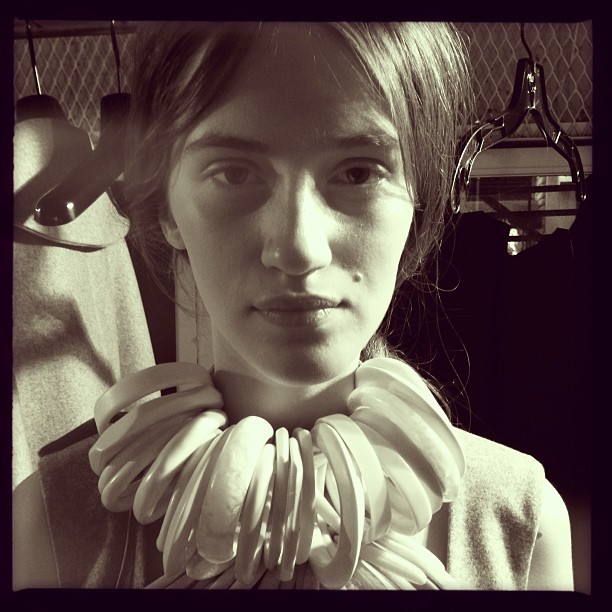 Backstage Prep (iP5) #nyfw #model #f2013rtw #fashion #chadwickbell #portrait #nyc #montereypop #style #hair #design #jewelry #beauty  (at Cafe Rouge, NYC)