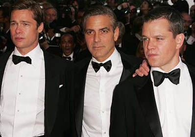 Brad Pitt, George Clooney, and Matt Damon