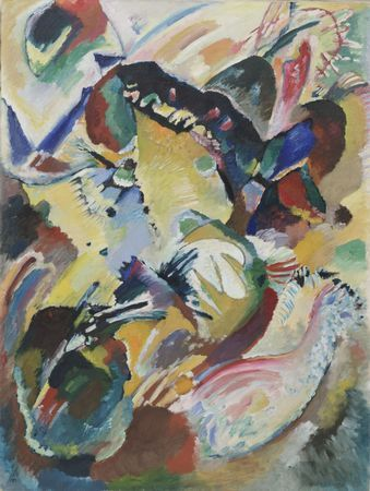 "Color and the Soul Kate Moos, Managing ProducerVasily Kandinsky, one of four panels for Edwin R. Campbell, at MOMA. Says Kandinsky: ""Color is a means of exerting direct influence upon the soul. Color is a keyboard. The eye is a hammer. The soul is a piano with its many strings."""