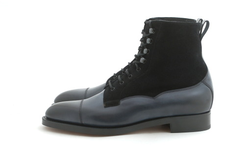 Edward Green Galway, Midnight Calf/Navy Suede Boots