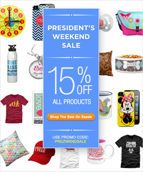 15% OFF All Products @zazzle Use Promo code: PREZWKNDSALE at http://www.zazzle.com/detourdesignables