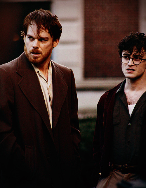 Michael C. Hall and Daniel Radcliffe on the set of Kill Your Darlings