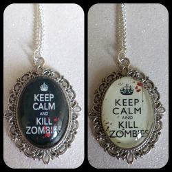 Keep Calm Zombie Cameo Necklaces