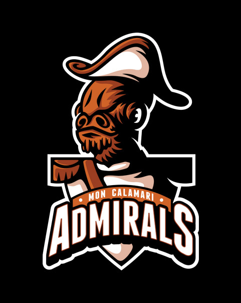 One of my Star Wars Sports Logos- the Mon Calimari Admirals, is available today only from ShirtPunch! http://shirtpunch.com/designs/details/calamari-admirals