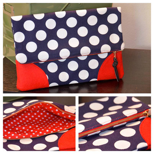 (via http://weallsew.com/2013/03/28/polka-dot-clutch-for-weallsew-by-mimi-goodwin/) Mimi G shared that there is a great tutorial on fold over clutches on Bernina's We All Sew website. Very versatile. Check it out!