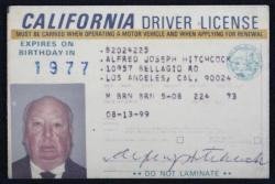 "A drivers licence belonging to Sir Alfred Hitchcock was auctioned in Las Vegas for $8,000 in June 2008. The Master of Suspense always insisted publicly that he was a non-motorist, so there was some surprise that he possessed the signed document. But one of his biographers, Patrick McGilligan, wrote: ""Though Hitchcock pooh-poohed driving, insisting to interviewers that he didn't even know how to drive, he did in fact chauffeur his daughter Patricia to school and to Sunday Mass."""