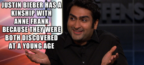 Click the image to watch Kumail Nanjiani and Reggie Watts talk about Justin Bieber and Anne Frank from last night's season finale of The Jeselnik Offensive.