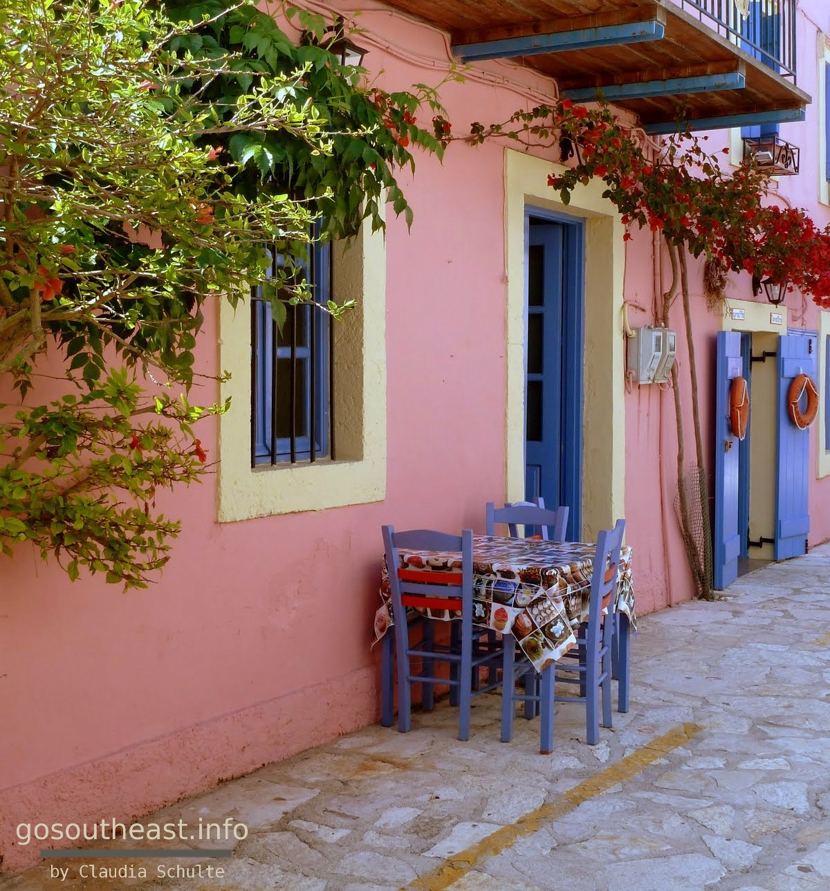 The most photographed house in Fiskardo on the Ionian Island of Kefalonia.