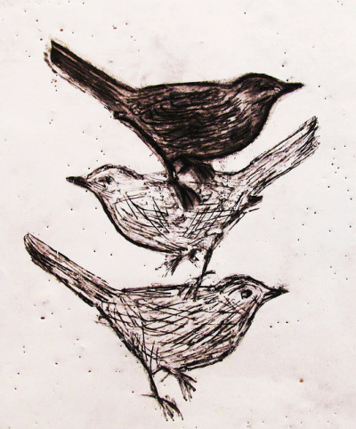 Three little birds  by Dawn Brimicombe on Flickr.Encaustic & Graphite drawing