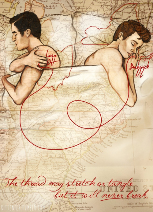 "toomanyfandomssolittletime:  ""An invisible red thread connects those destined to meet, regardless of time, place, or circumstances. The thread may stretch or tangle, but never break.""  - Ancient Chinese Proverb  (Fan art not mine) :)"