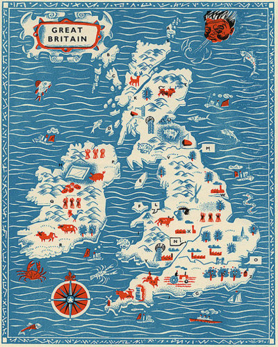 landofmaps:  Nice vintage map of Great Britain/UK [900x1126]