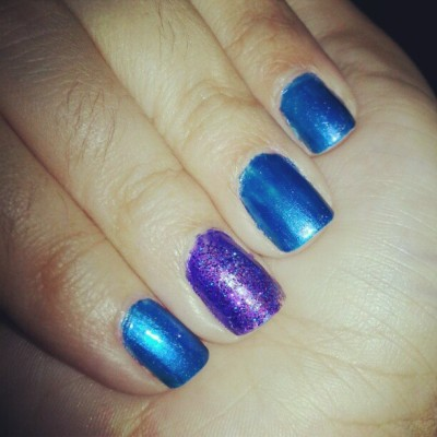 #nailpolish #nails #blue #purple #glitter #OPI #poshe #manicure