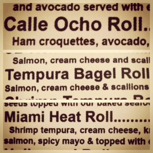 You know you're home when #miami #305 #calleocho #sushiroll #sushi #croquetas #avocado #maduro #pitbull