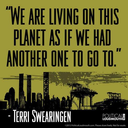 """We are living on this planet as if we had another one to go to.""  Terri Swearingen"