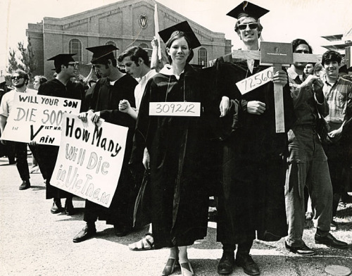 wiscohisto:  Anti-Vietnam War protest at graduation, Madison, Wisconsin, 1968. via: UW-Madison Collection, UW-Madison Archives by way of University of Wisconsin Digital Collections UW-Madison Archives is also on Tumblr!