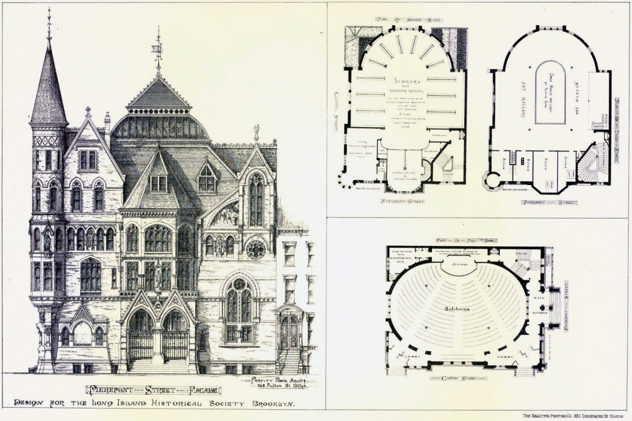 Design for the Long Island Historical Society, Brooklyn