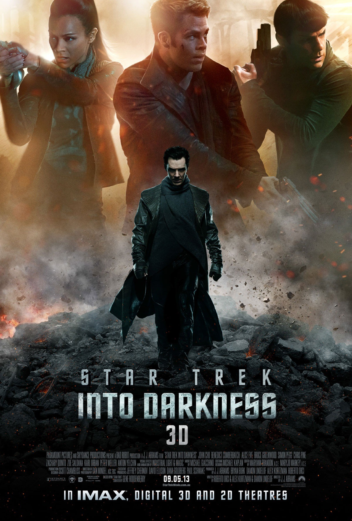 sherlockology:  The new Star Trek Into Darkness One Sheet poster, with Benedict Cumberbatch placed dead centre