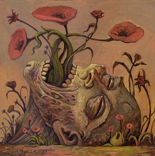 Michael Hutter painting death head flowers died