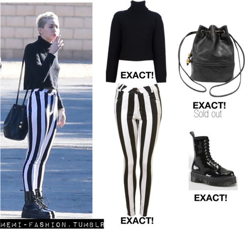 Miley out with Liam (26/12)  STELLA MCCARTNEY cropped sweater - ON SALE! Topshop Jordan Jean by Motel Dr Martens AGGY 1490 Black Patent Lamper Chanel Black Caviar Leather Drawstring Bucket Shoulder Bag - SOLD OUT.