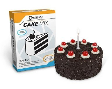 humanpunk:  Official Portal Cake Mix The cake is not a lie!    A Cake mix for creating the famous, delicious and moist cake that is promised to test subjects during the game. It is not a lie, it really exists! Includes everything you need to bake the original cake, except the fresh ingredients. Including loads of chocolate flakes for decoration and a candle! Manufacturer is Gaya Entertainment.      I'M SO HAPPY.