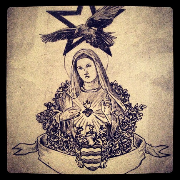 Tattoo design  #tattoo #mary #virginmary #crow