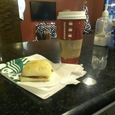 #final #meal … #apocalyptic #breakfast #starbucks #bacon #egg and #cheese and #latte (at Starbucks)
