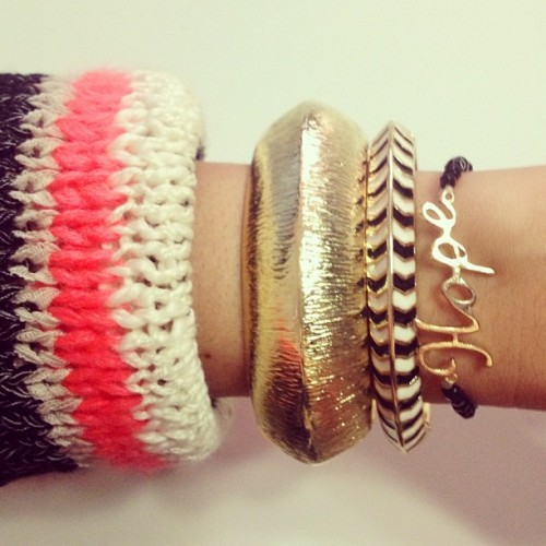 Today's arm candy #bashandbow #nyc #armcandy #goldcuff #bracelets #hope #blackandwhite (at BASH & BOW)