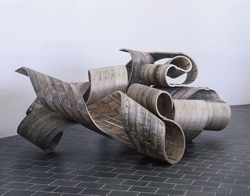 spaceofstone:  Richard Deacon, Restless, steamed ash and stainless steel, 158 x 374 x 257 cm, 2005