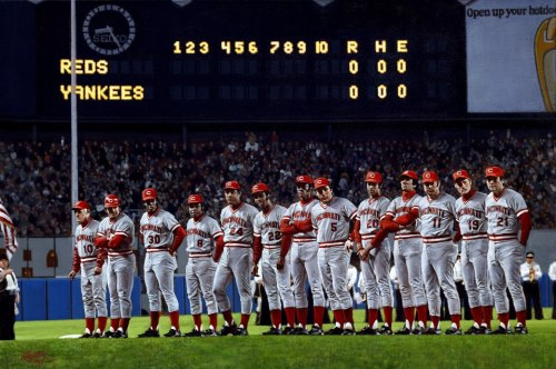 Happy birthday to Sparky Anderson, who would have been 79 today.Here he stands with his boys before the fourth game of the '76 World Series.