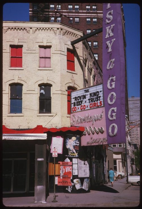 calumet412:  The Whisky-A-Go-Go, corner of Rush and Chestnut, 1963, Chicago. Known as America's first real disco, the Chicago Whisky would spawn a chain of bars, including the famous one in Los Angeles: http://en.wikipedia.org/wiki/Whisky_a_Go_Go