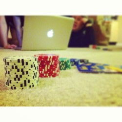 Poker w/ @ayetokee @justin_swain @kim_jon_illest @loveraeofsunshine & Riza for fun at Nessa's. #iphoneography #poker #chips #apple #laptop #macbookpro #cards #fun #radhangz #instagood #instamood
