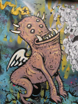 "Flying Space Dog by Charles ""Wolfman"" Bennett detail from WAR & PEACE (collaboration with Brandt Hardin and Jesse Shaw) Painted December 2012 at Austin Peay State University"