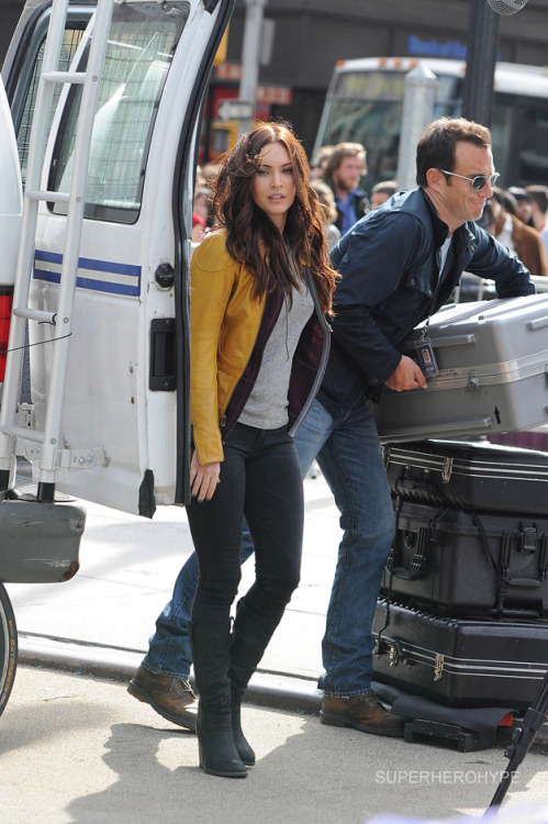 Megan Fox as April O'Neil on the set of Teenage Mutant Ninja Turtles.