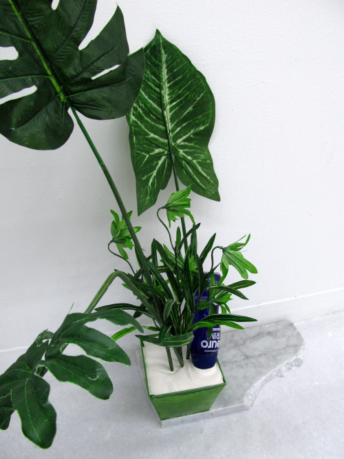 confront:  thejogging: Neuro Trim™ And Fake Plants Partially Encased In Plaster Placed On A Slab Of Marble, 2013 Sculpture ⎠﹆