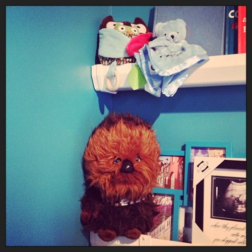 #fmsphotoaday January, Day 22: Corner — Sneak Peek of Mr. Baby's room. And yes, that is a wookie.