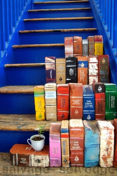 hushpuppies03:  Bricks painted as books