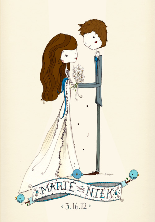 a sweet personalized wedding illustration keepsake, with many more to come to my etsy store :)  ( https://www.etsy.com/listing/121936574 )